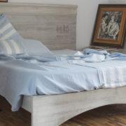 biancheria letto lenzuola di lino righe colore ceruleo metti in riga 3