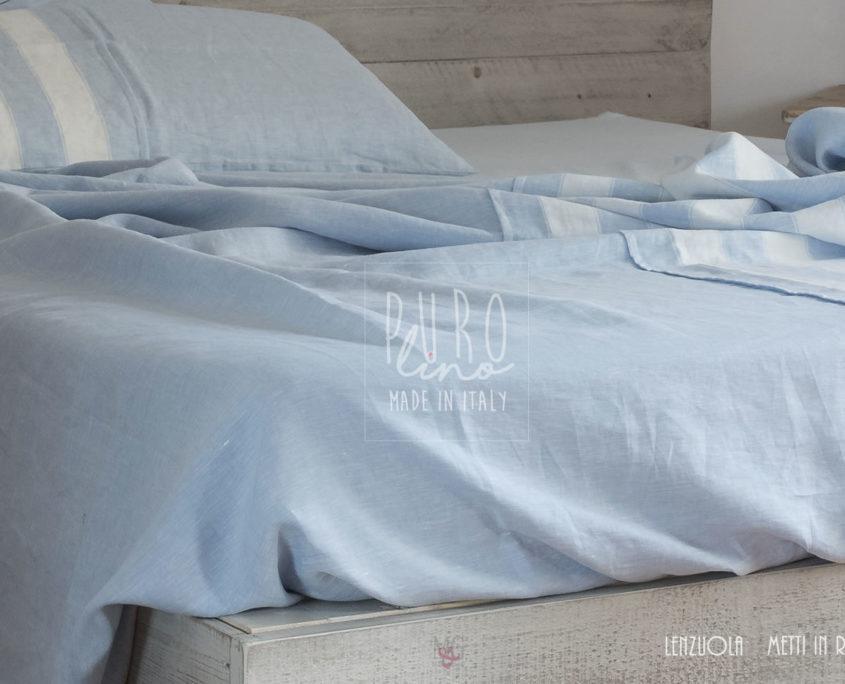set lenzuola in lino su misura a righe bicolor trend estate
